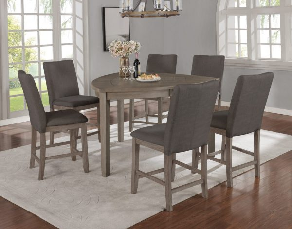 |Petal-Shaped Table & Chairs in Dark Grey|4 Chairs & 1 Bench in Dark Grey