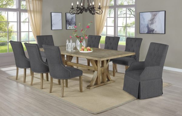 """ Arm Chairs Tufted and Side Chairs Tufted & Nailhead Trim Extendable Dining Table w/Center 24"""" Leaf Beige"""