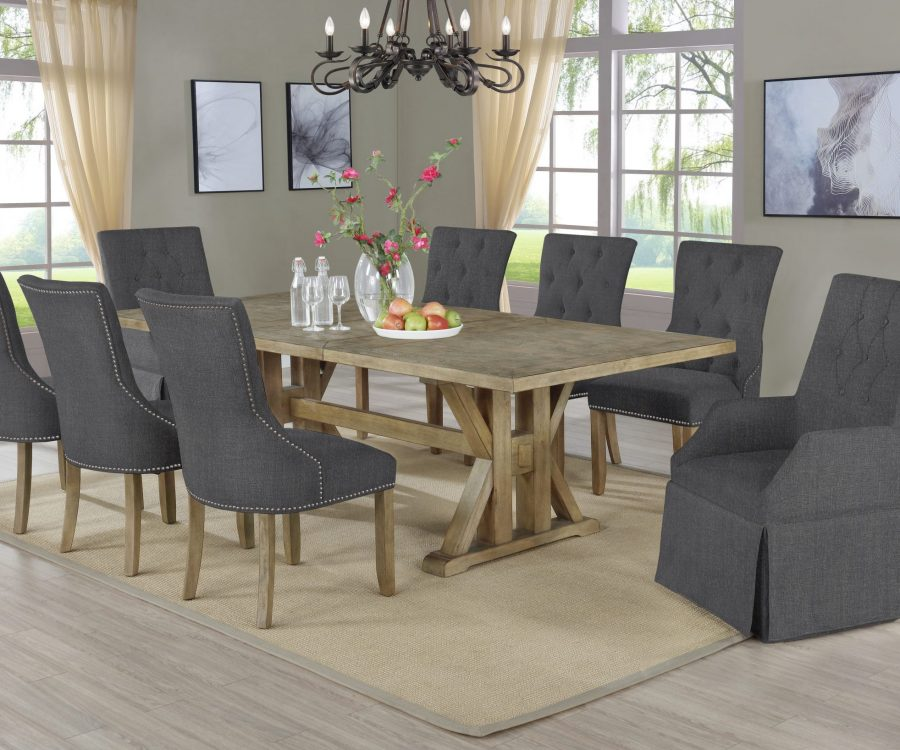  Arm Chairs Tufted and Side Chairs Tufted & Nailhead Trim Extendable Dining Table w/Center 24