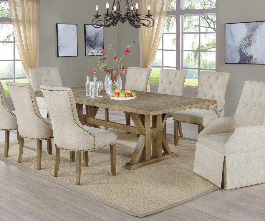 Arm Chairs Tufted and Side Chairs Tufted & Nailhead Trim|Extendable Dining Table w/Center 24
