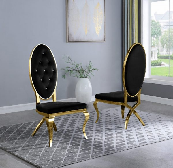 Black Velvet Chairs and Arm Chairs in Stainless Steel