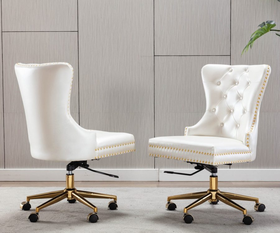 Tufted Faux Leather Adjustable Wingback Chair|Gold Base