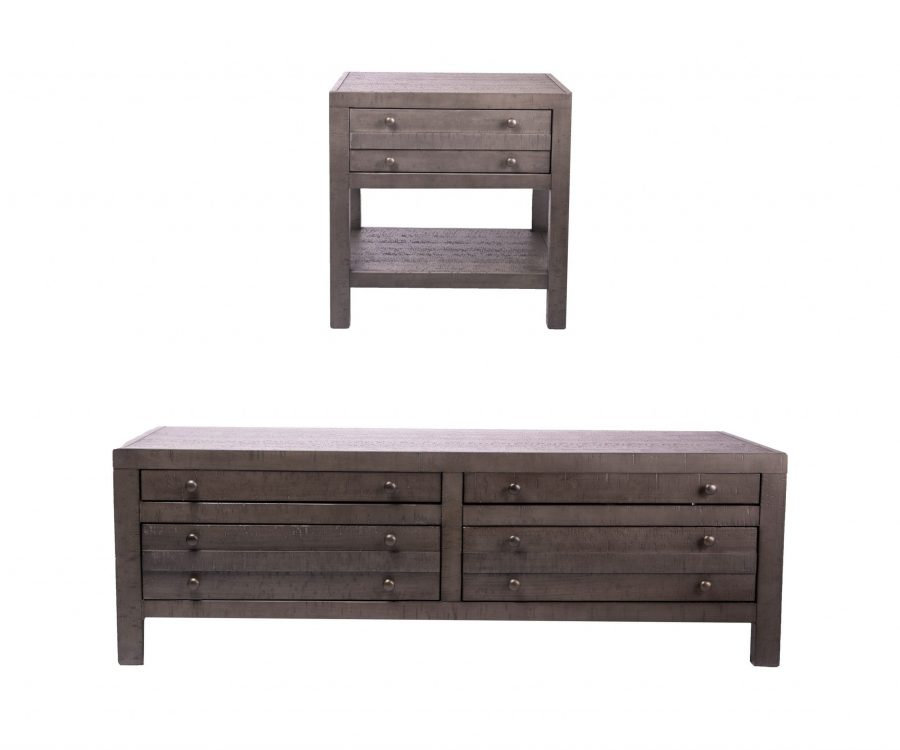 Rustic Style 2-piece Coffee Set- Coffee Table + End Table Rustic Dark Grey Rustic Dark Grey