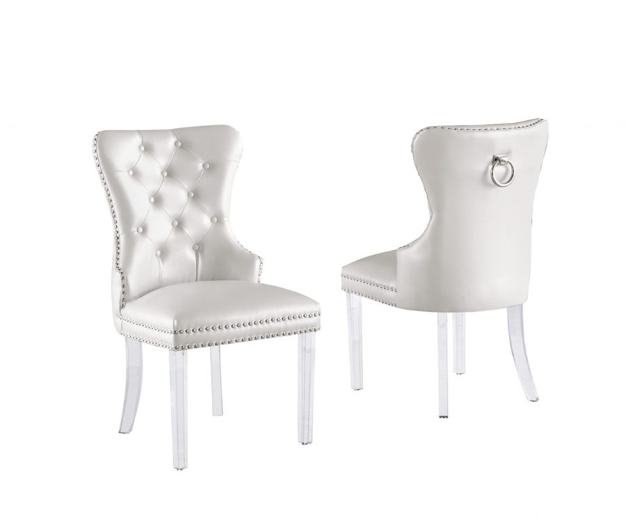 White Faux Leather Tufted Ring-Back Chair with Acrylic Legs - Set of 2||