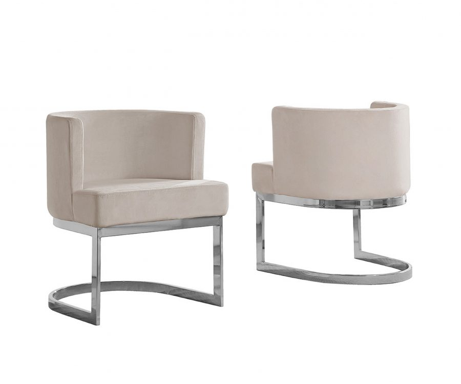 Beige Velvet Side Chair with Silver