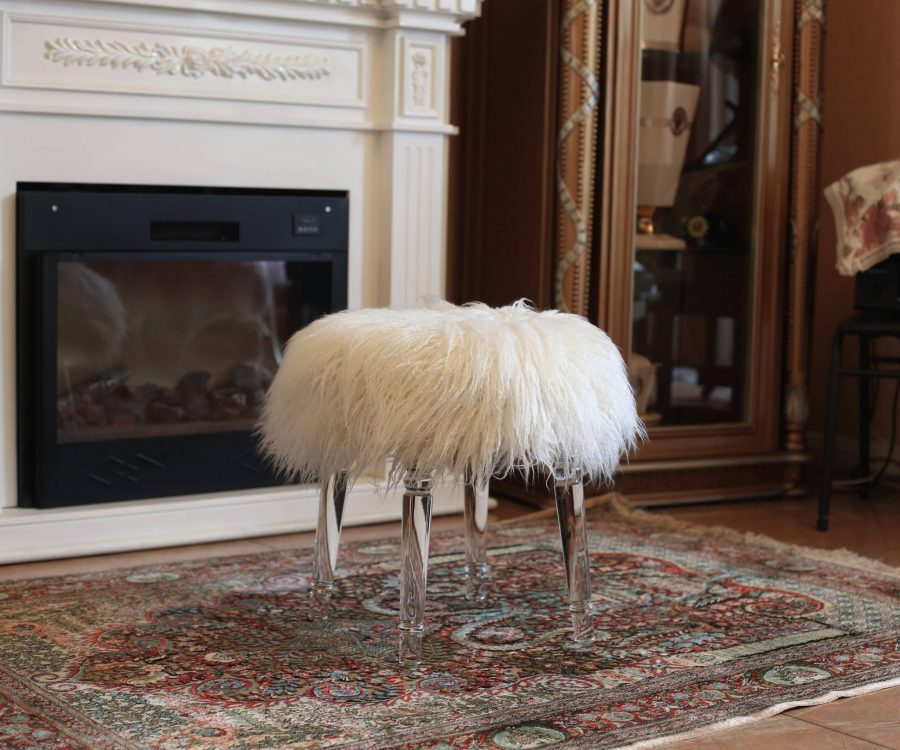 Fur Ottoman with Acrylic Legs. 2 Colors to Choose: White or Pink