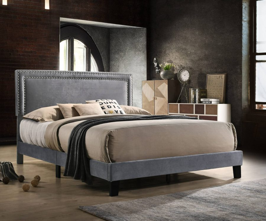 Panel Bed with nailhead trim. 2 Colros to Choose: Navy Blue or grey|