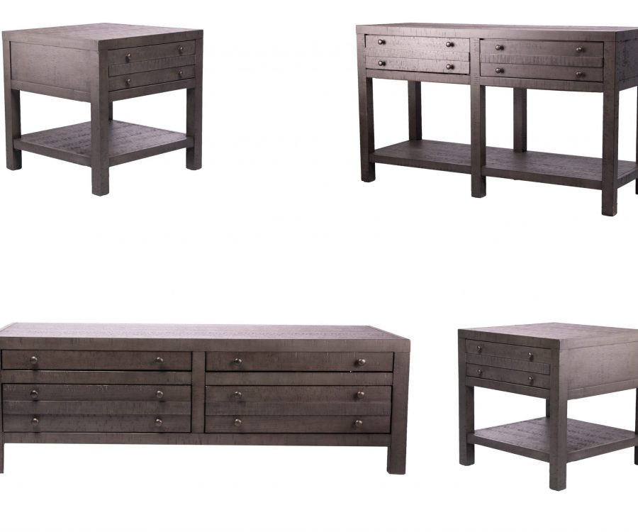 Rustic Style 4-piece Coffee Table Set - Coffee + 2 End Tables + Console Table Rustic Dark Grey Rustic Dark Grey Rustic Dark Grey