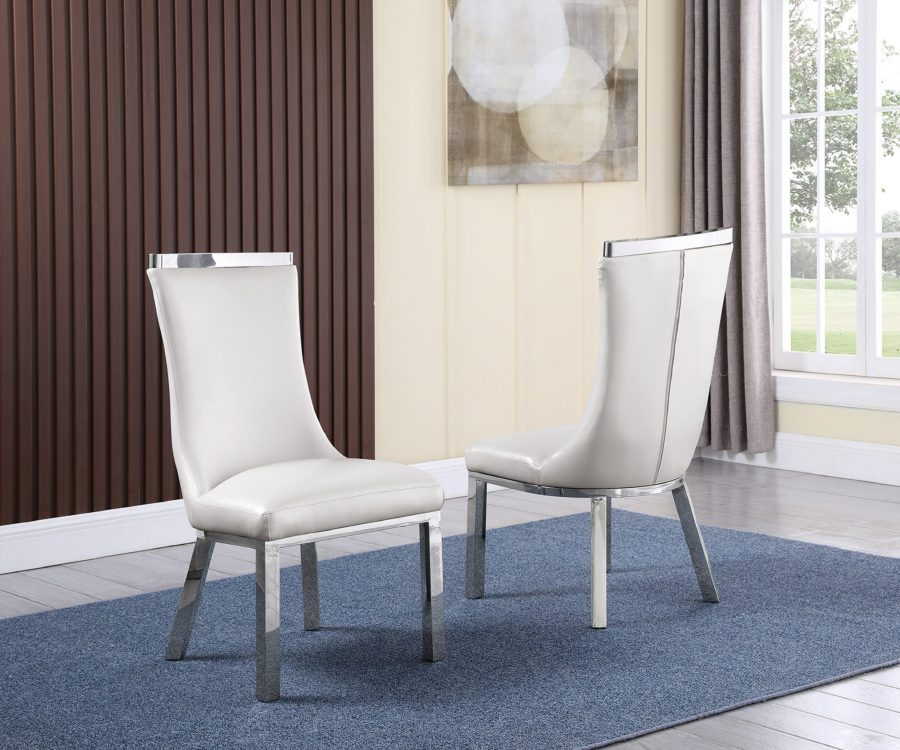 6 White Faux Leather Chairs