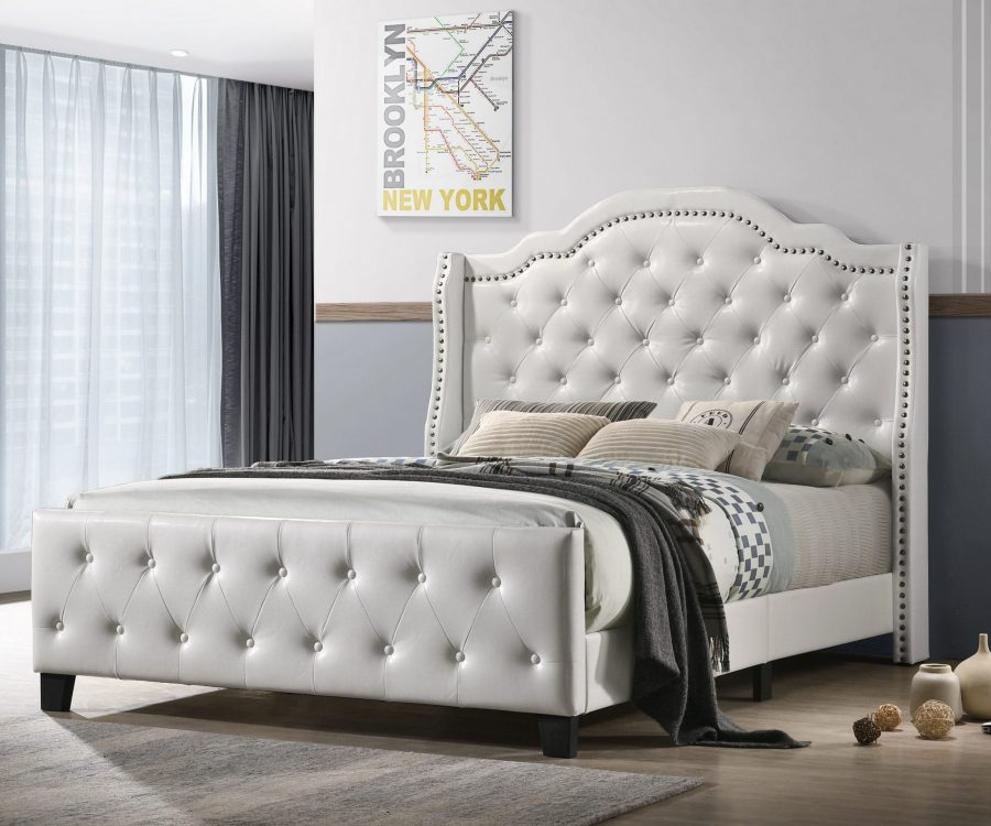 White Faux Leather Tufted Panel Bed - Queen
