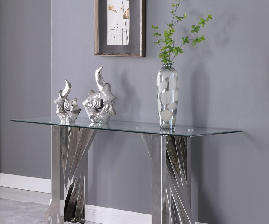 Glass Console Table with Stainless Steel Double Base|