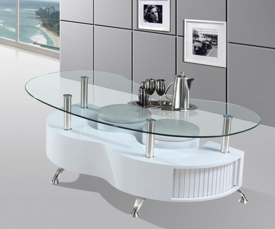 High Gloss Lacquer Coffee Table with Glass Top