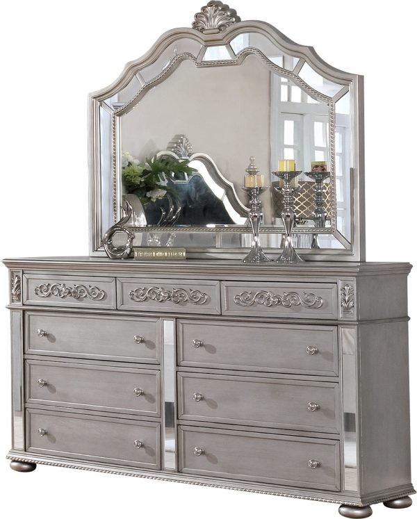 Dresser Mirror Set with 9 Drawers and Mirror with Reflective Panel Border