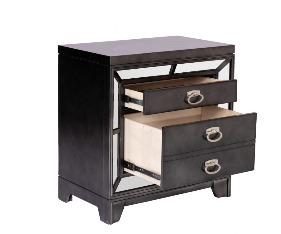 3 Handles and Mirror Plate Border|||Nightstand with 2 Drawers
