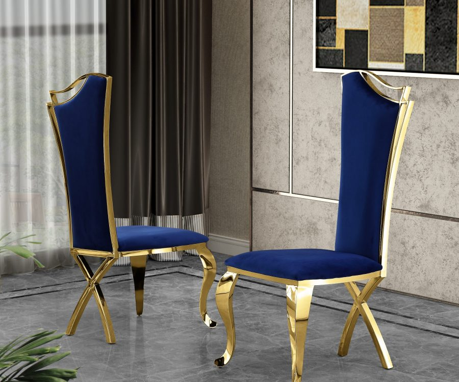 Navy Blue Velvet Side Chair **Set of 2**