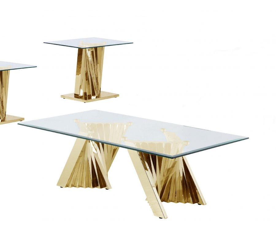 Glass Coffee Table Sets: Coffee Table and 2 End Tables with Stainless Steel Gold Base