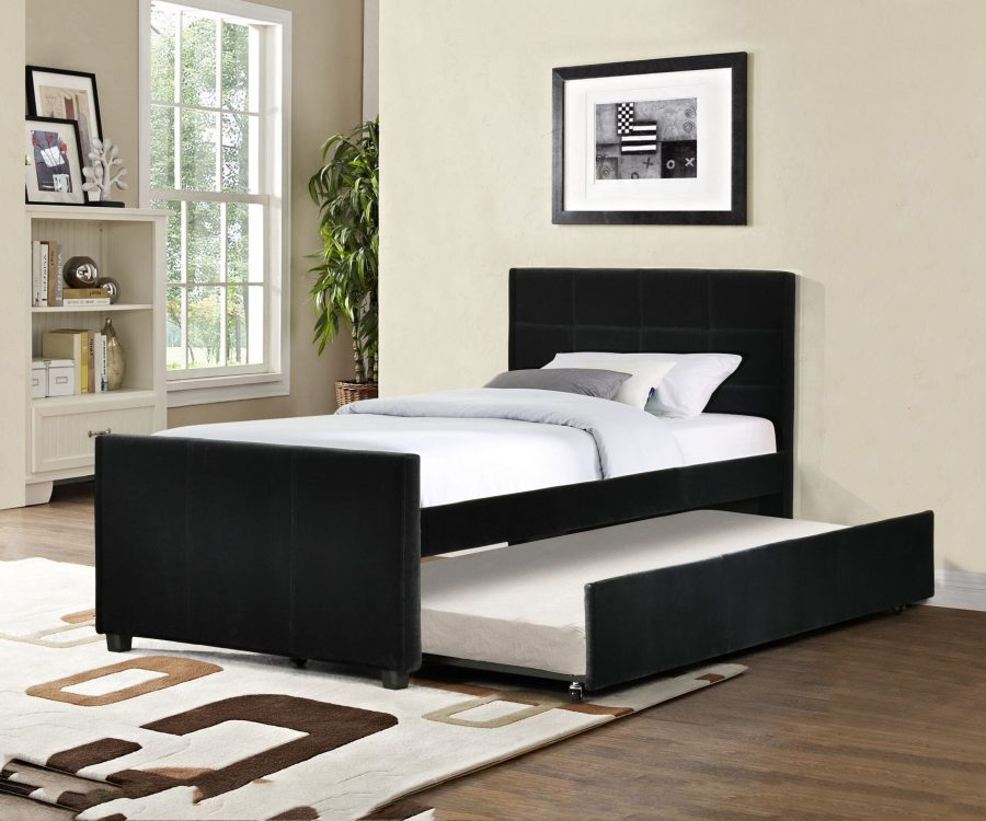 Twin Bed With Twin Trundle in Black Velvet Fabric