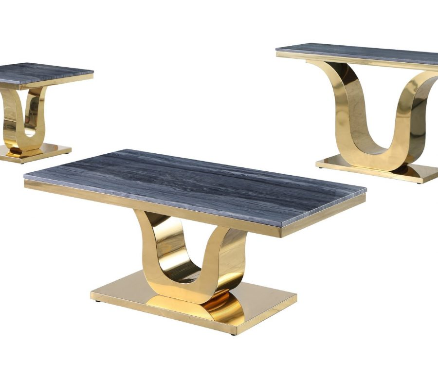 Marble Coffee Table Set: Coffee Table|End Table