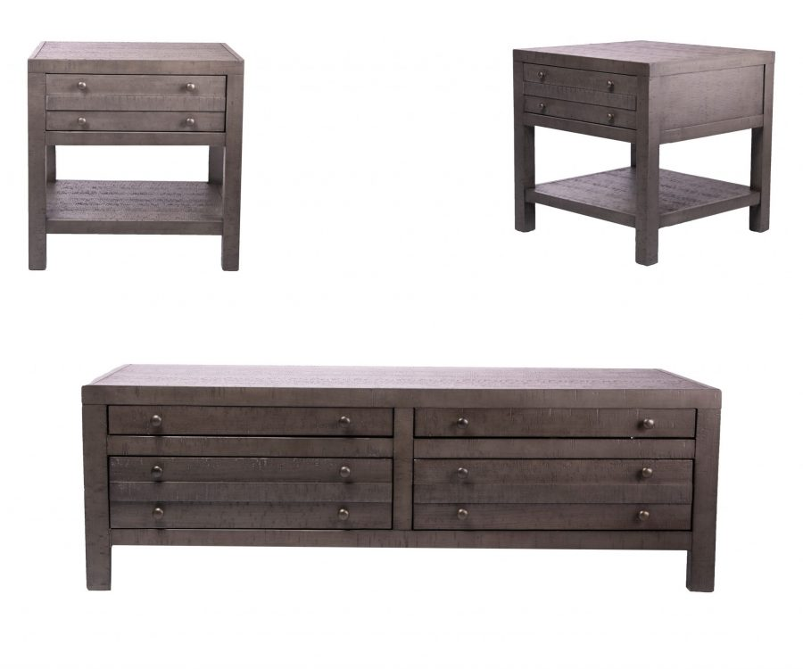 Rustic Style 3-piece Coffee Set - Coffee Table + 2 End Tables Rustic Dark Grey Rustic Dark Grey