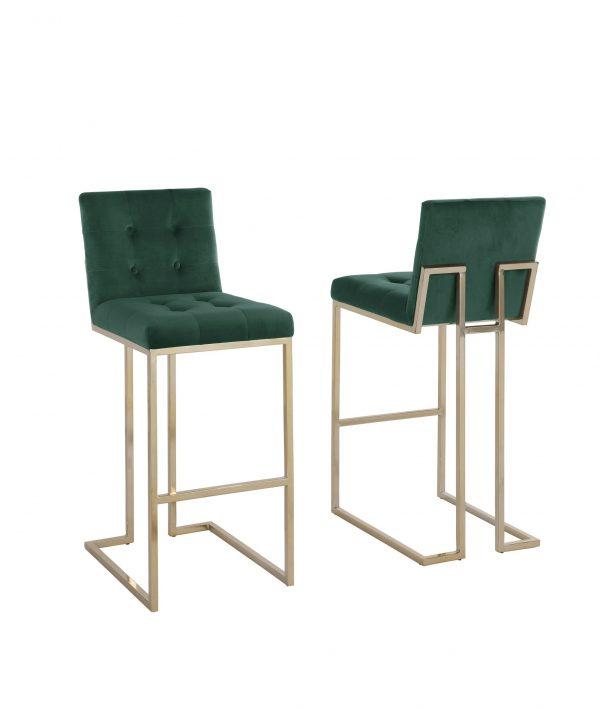 """27""""Tufted Velvet Upholstered Bar Stool in Emerald (Set of 2)"""