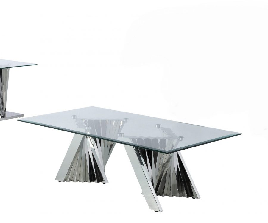 Glass Coffee Table Sets: Coffee Table and End Table with Stainless Steel Base