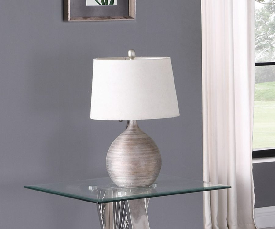 Glass End Table with Stainless Steel Base|