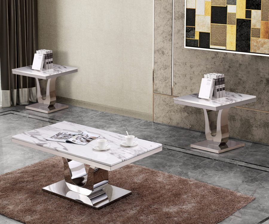 Classic 3pc Set: Marble Top Coffee Table and End table(s) with Stainless Steel Base 