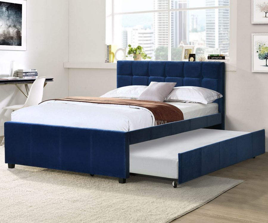 Full Bed With Twin Trundle in Navy Blue Velvet Fabric