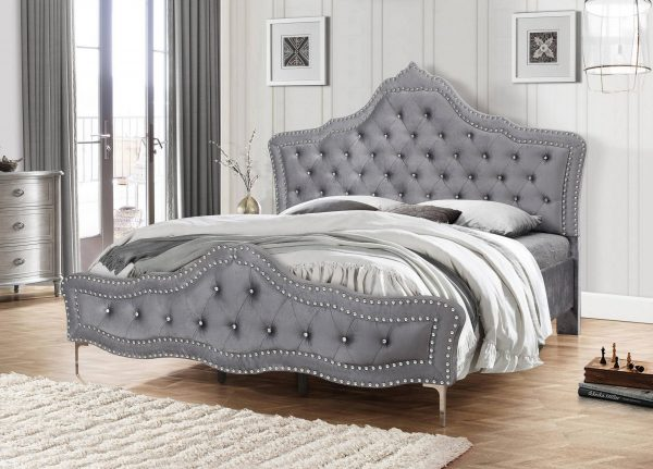 Panel Bed with Tufted Buttons and Double Nailhead Trim. 2 Colors to Choose: grey or White 