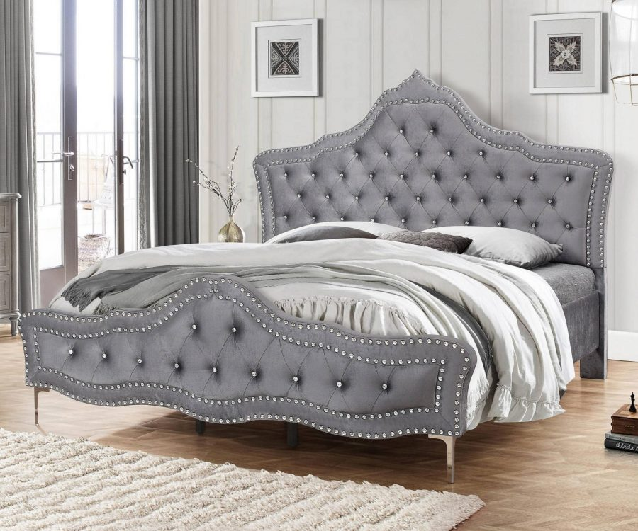 Panel Bed with Tufted Buttons and Double Nailhead Trim. 2 Colors to Choose: grey or White|