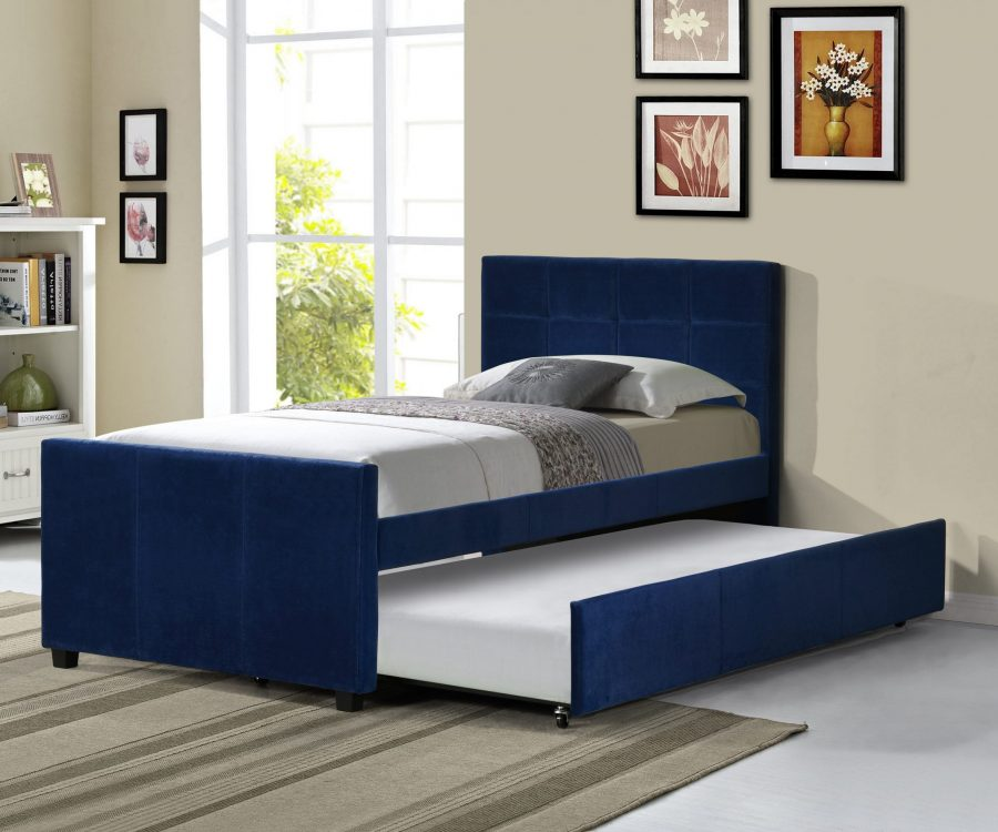 Twin Bed With Twin Trundle in Navy Blue Velvet Fabric|