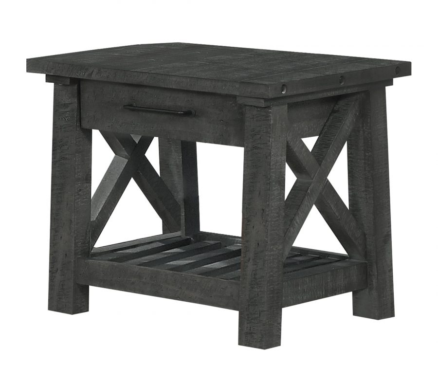 End Table with Drawer and Shelf in grey Wood Finish
