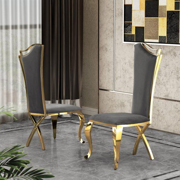 Dark Gray Velvet Side Chair **Set of 2**