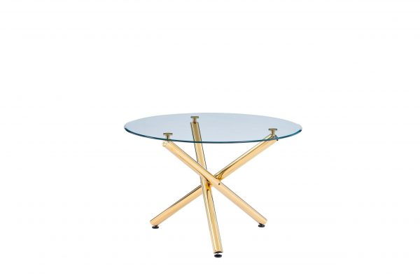 Glass Table w/ Gold Base|Emerald Green - (1 Table + 4 Chairs)