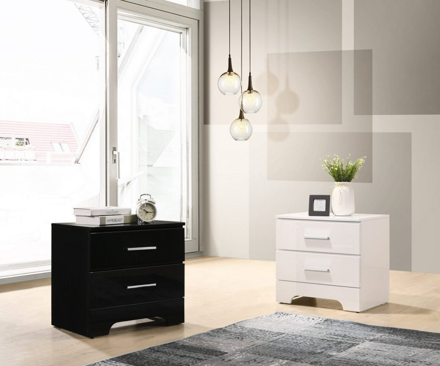 Lacquer Nightstand with 2 Drawers. Available in The Colors: High Gloss Black and White.