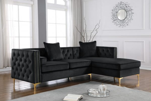 2-Piece Velvet Sectional with Tufted Buttons|Square Pillows