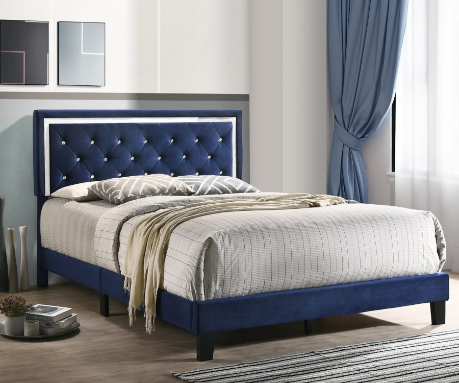 Navy Blue Velvet Uph. Panel Bed with Accents - Twin