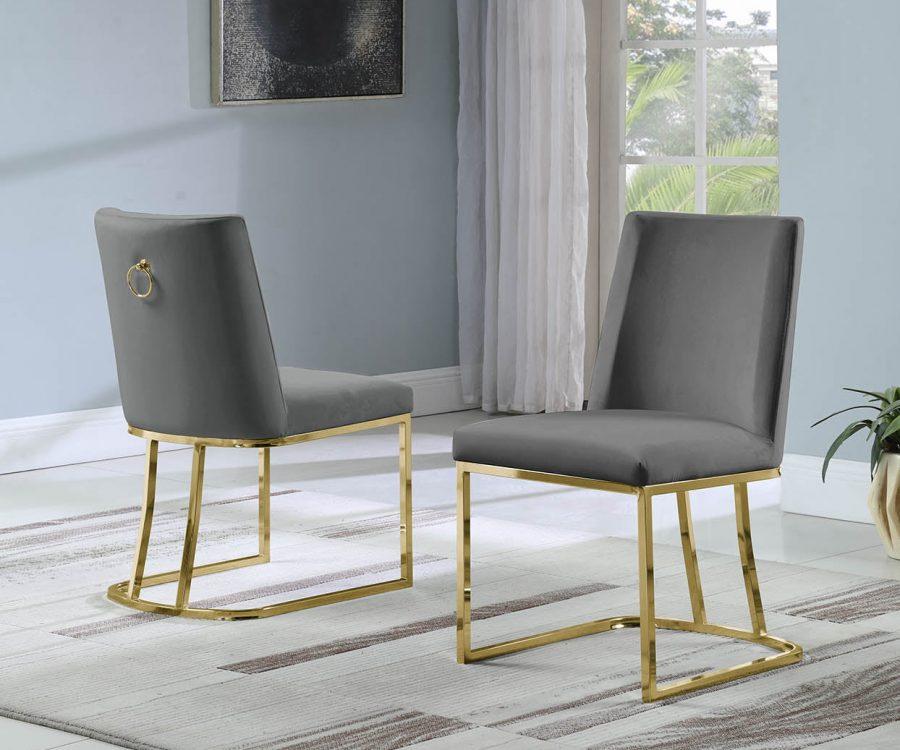 |Velvet Upholstered Side Chair|Gold Color Legs