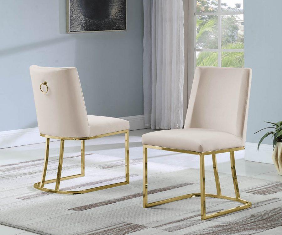 Velvet Upholstered Side Chair Gold Color Legs