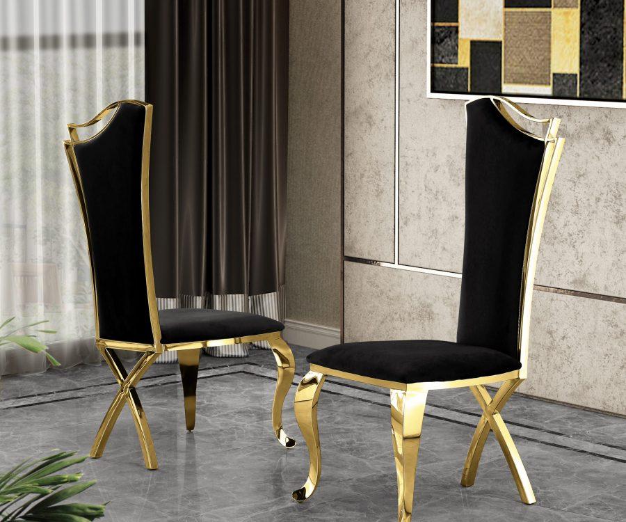 Black Velvet Side Chair **Set of 2**
