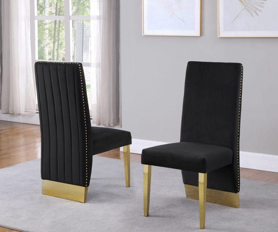 |Tufted Velvet Upholstered Side Chair|4 Colors to Choose (Set of 2) - Black