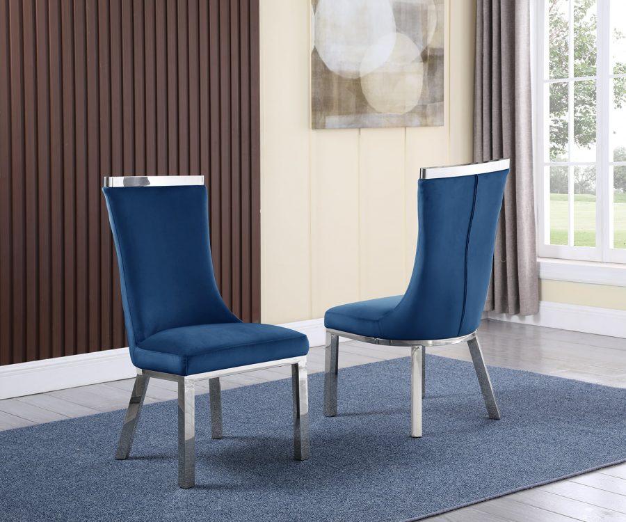  6 Navy Blue Velvet Chairs
