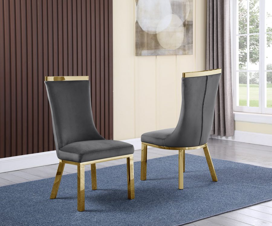 4 Dark Grey Velvet Chairs