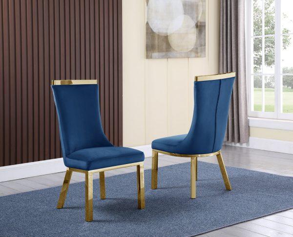 4 Navy Blue Velvet Chairs