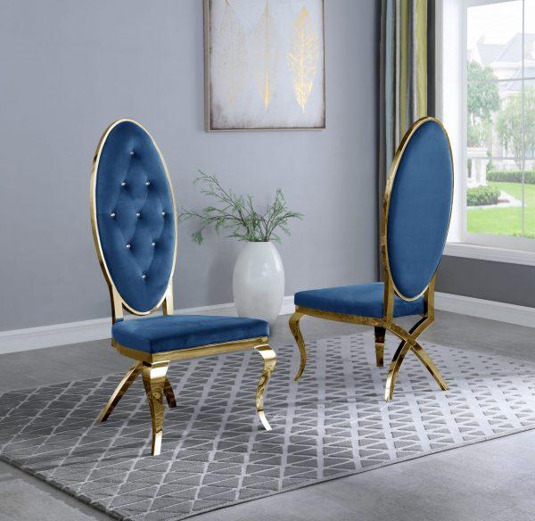 Navy Blue Velvet Tufted Side Chair in Stainless Steel Gold - Set of 2 