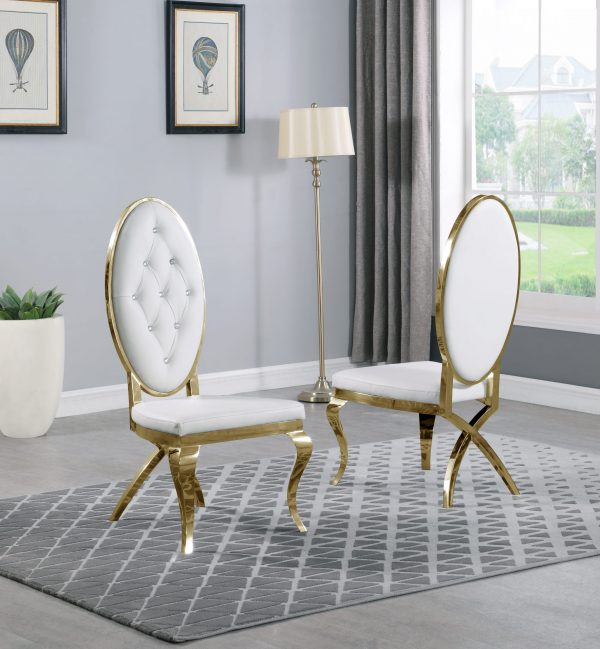 |White Faux Leather Side Chair **Set of 2**|