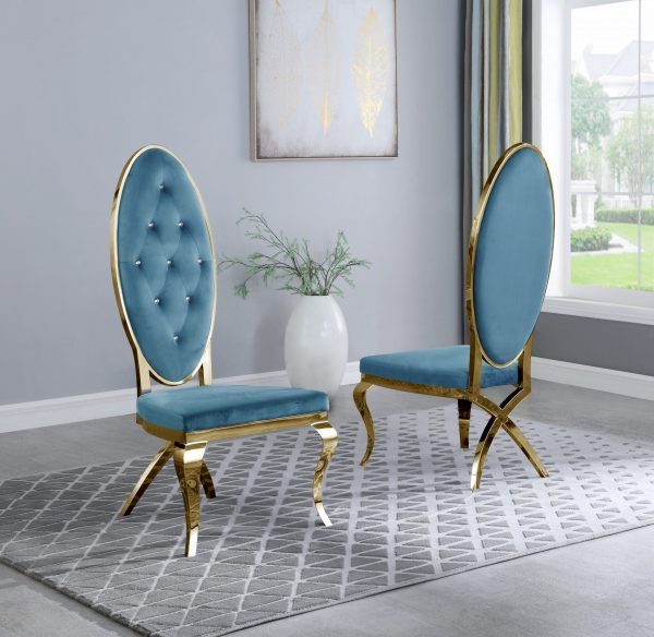 |Teal Velvet Side Chair **Set of 2**|
