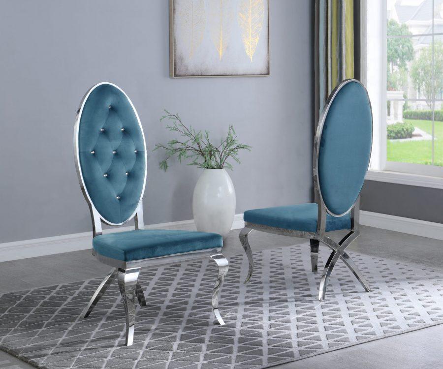  Teal Velvet Side Chair **Set of 2** 