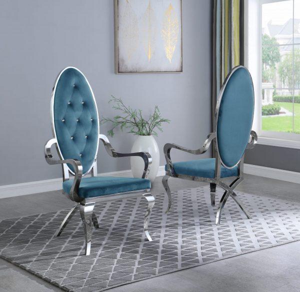 |Teal Velvet Arm Chair **Set of 2**