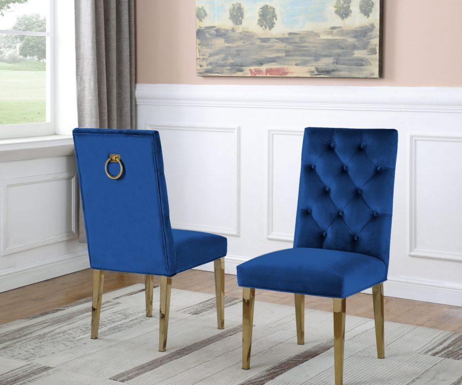 Navy Bue Velvet Tufted Ring-Back Chair with Chrome Gold Legs - Set of 2 